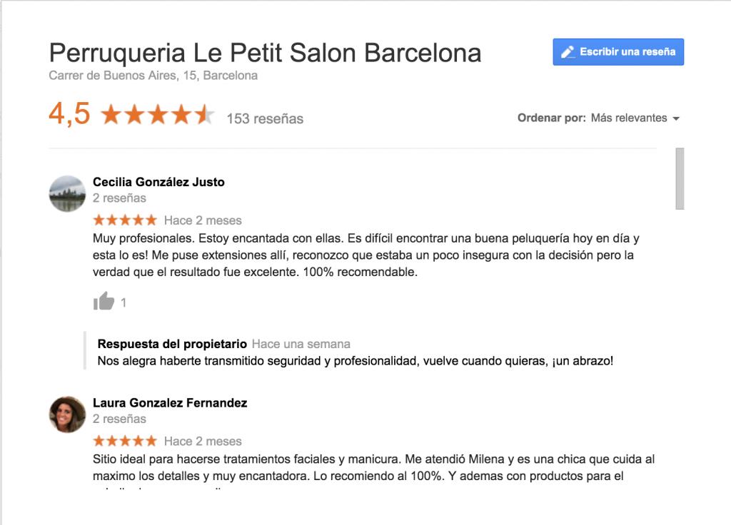 Reseñas Google Le Petit Salon Barcelona